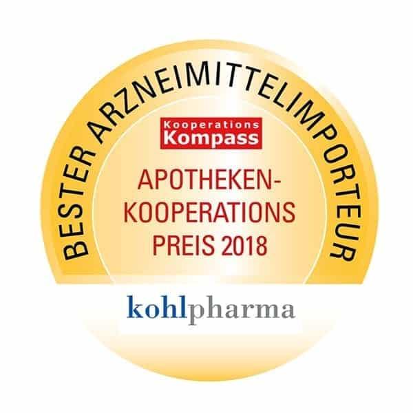 """2018 wurde kohlpharma als """"Bester Arzneimittelimporteur"""" mit dem Apotheken-Kooperationspreis ausgezeichnet."""