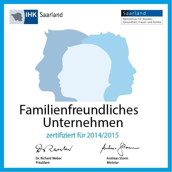 kohlpharma in Merzig wurde 2014/2015 von der IHK Saarland als familienfreundliches Unternehmen zertifiziert.